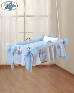 Bedding set 3 pcs for Moses Basket/Hanging crib no. 1478-134 Amelie blue