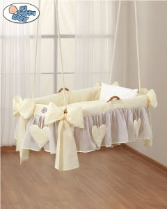 Bedding set 3 pcs for Moses Basket/Hanging crib no. 1478-142 Amelie cream