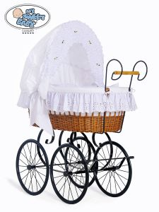 Retro wicker crib Sisi - White