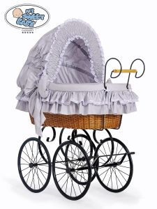 Retro wicker crib Victoria - Grey