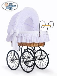 Retro wicker crib Charlotte - White