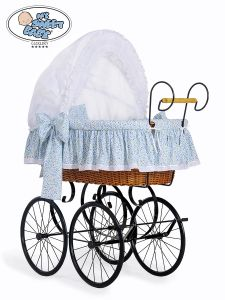 Retro wicker crib Jasmine- White - blue with lace