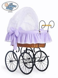Retro wicker crib Christine - White - lilac with lace