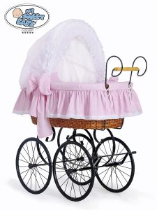 Retro wicker crib Christine - White - pink