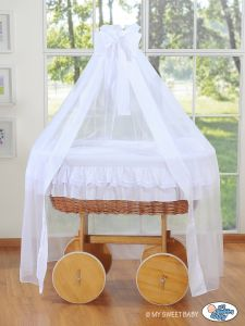 Wicker drape crib Deluxe- Little Angel white