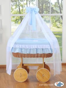 Wicker drape crib Deluxe- Bellamy blue
