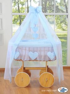 Wicker drape crib Deluxe- Amelie blue
