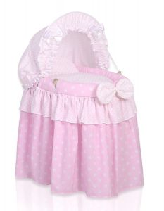 Wicker crib for doll with hood no. 2158-553