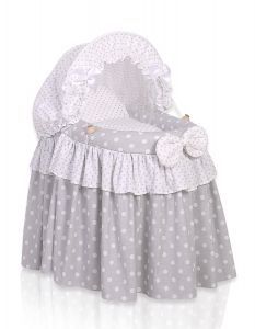 Wicker crib for doll with hood no. 2158-583