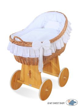 Moses Basket/Wicker hood crib Carina- White