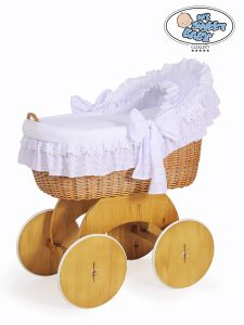Moses Basket/Wicker hood crib Lily - White with lace