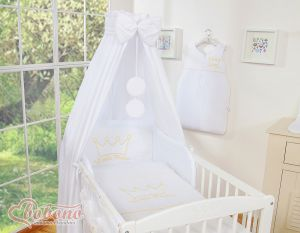 Bedding set 5-pcs with canopy- Little Prince/Princess white