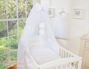 Bedding set 7pcs with mosquito-net- Little Prince/Princess white