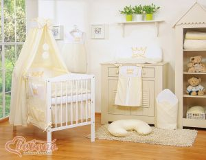 Bedding set 11pcs with canopy- Little Prince/Princess cream