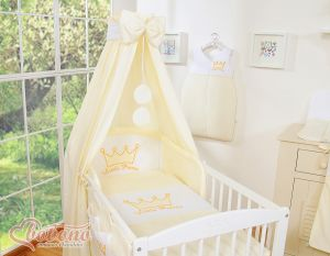 Bedding set 5-pcs with canopy- Little Prince/Princess cream