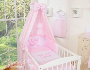 Bedding set 7-pcs with canopy- Little Prince/Princess pink