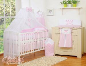 Bedding set 11pcs with mosquito-net- Little Prince/Princess pink