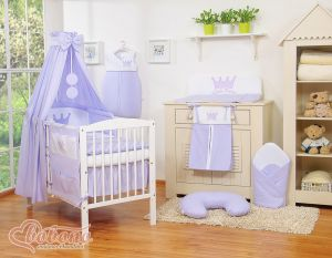 Bedding set 11pcs with canopy- Little Prince/Princess lilac