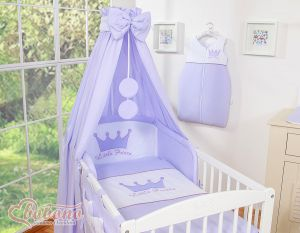 Bedding set 5-pcs with canopy- Little Prince/Princess lila