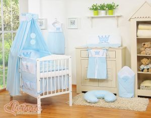 Bedding set 11pcs with canopy- Little Prince/Princess blue