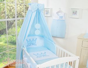 Bedding set 7-pcs with canopy- Little Prince/Princess blue