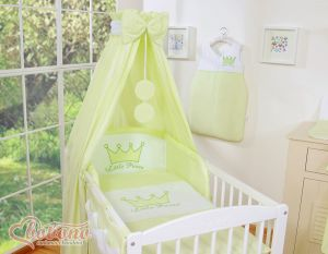Bedding set 5-pcs with canopy- Little Prince/Princess green