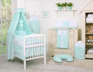 Bedding set 11pcs with canopy- Little Prince/Princess mint