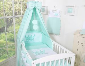 Bedding set 5-pcs with canopy- Little Prince/Princess mint