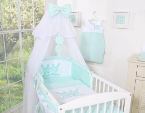 Bedding set 5pcs with mosquito-net- Little Prince/Princess mint