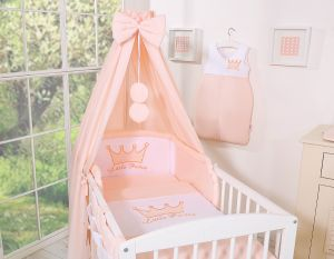 Bedding set 5-pcs with canopy- Little Prince/Princess pink