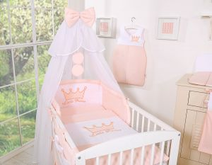 Bedding set 5pcs with mosquito-net- Little Prince/Princess pink