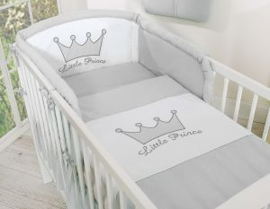 Bedding set 2-pcs- Little Prince/Princess gray