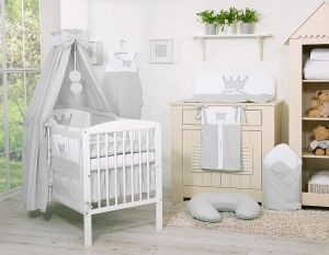 Bedding set 11pcs with canopy- Little Prince/Princess gray