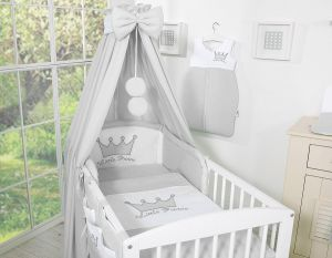 Bedding set 7-pcs with canopy- Little Prince/Princess gray