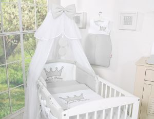 Bedding set 7pcs with mosquito-net- Little Prince/Princess gray