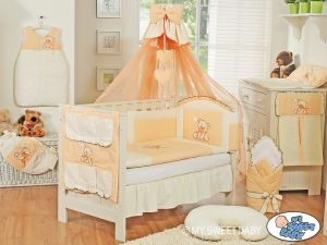 Bedding set 5-pcs z mosquito-net- Teddy Bear with bow peach