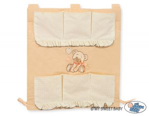 Cot tidy- Teddy Bear with bow peach