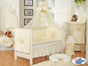 Bedding set 5-pcs z mosquito-net- Teddy Bear with bow cream
