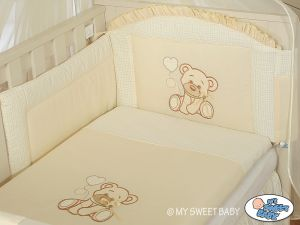 Bedding set 3-pcs- Teddy Bear with bow cream