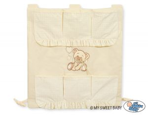 Cot tidy- Teddy Bear with bow cream