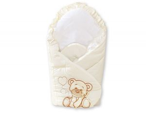 Baby nest with stiffening- Bear with bow cream
