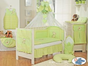 Bedding set 5-pcs z mosquito-net- Teddy Bear with bow green