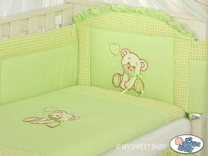 Bedding set 3-pcs- Teddy Bear with bow green