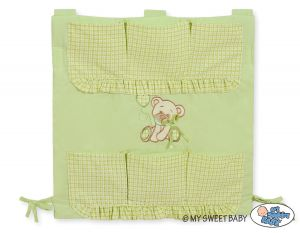 Cot tidy- Teddy Bear with bow green