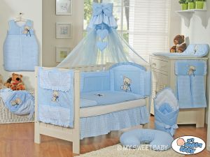 Bedding set 5-pcs z mosquito-net- Teddy Bear with bow blue