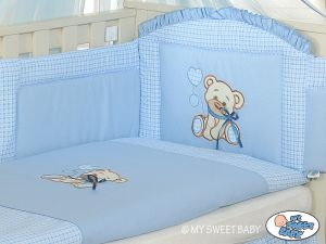 Bedding set 3-pcs- Teddy Bear with bow blue