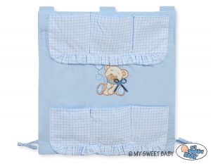 Cot tidy- Teddy Bear with bow blue