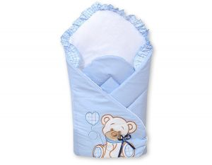 Baby nest with stiffening- Bear with bow blue