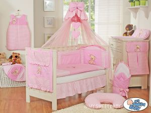 Bedding set 5-pcs z mosquito-net- Teddy Bear with bow pink