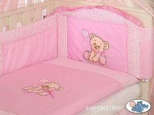 Bedding set 3-pcs- Teddy Bear with bow pink